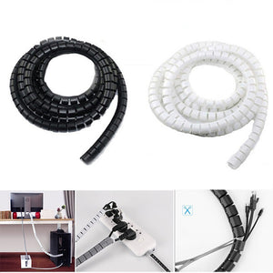 Rompsun™ 2M Wire Storage Tube Clips Cable Sleeve Organizer Pipe Wrap Cord Protector Flexible Spiral Management Device