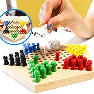 Rompsun™ Wood Chinese Traditional Hexagon Checker Strategy Game with Game Board for Children