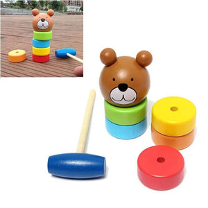 Rompsun™ Wooden Toy Bear Bangs Tower Rainbow Tower Pile Tower Early Education Toy
