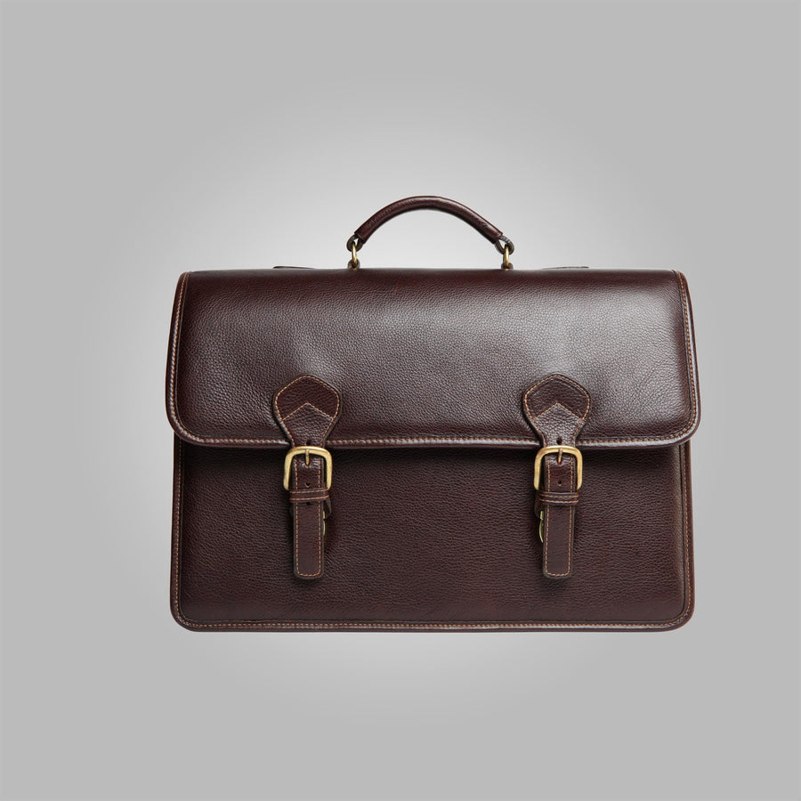 Brown Aston Leather Morrison Men's Double Compartment Cowhide Briefcase