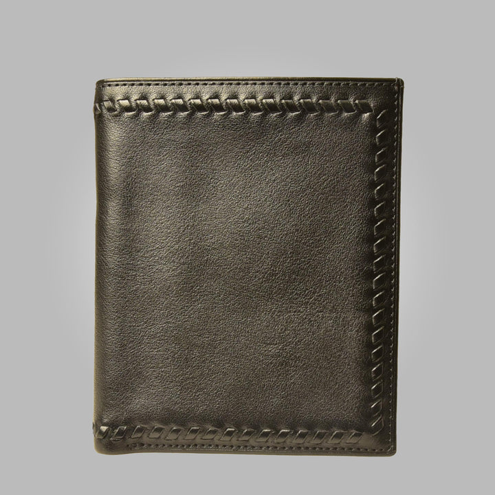 Black Aston Leather Hemingway Hand Stitched Wallet