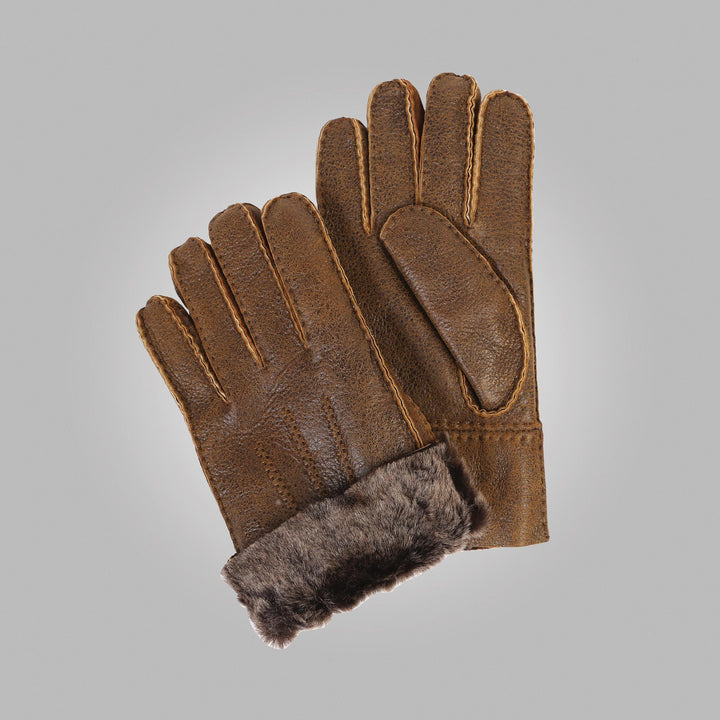 Men's Brown Aston leather Sheepskin Gloves