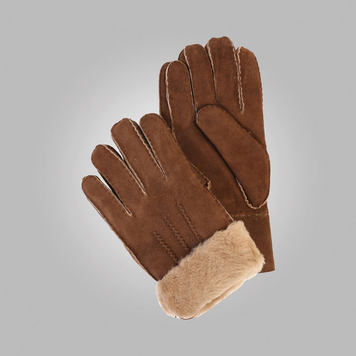 Men's Castano Brown Aston Leather Sheepskin Gloves