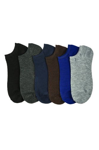 6 PAIRS | Power Club Men's Ankle Socks Set (70043_SOLIDMD)