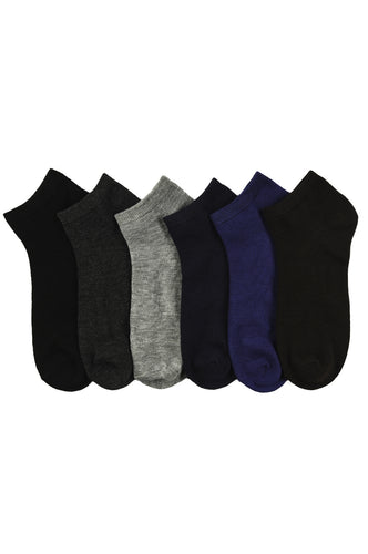 6 PAIRS | Power Club Men's Ankle Socks Set (70043_SOLIDM)