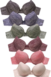 PACK OF 6 | Mopas Women's Full Coverage Space Dye Bra (BR8101P1)