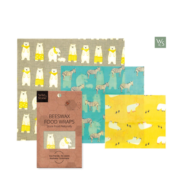 Beeswax Food Wraps - Organic & Reusable - Animal Pattern - 3 Pack