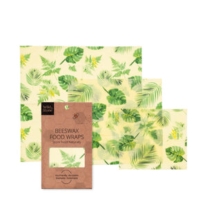 Beeswax Food Wraps - Organic & Reusable - Botanical Pattern - 3 Pack