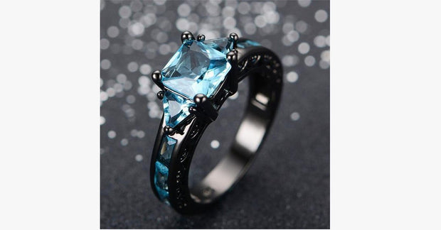 Aquamarine Gemstone Ring - 10kt Black Gold Plated - FREE SHIP DEALS