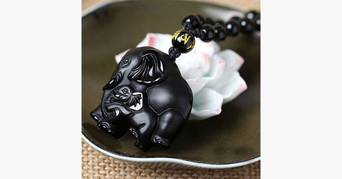 Natural Obsidian Elephant Necklace - FREE SHIP DEALS
