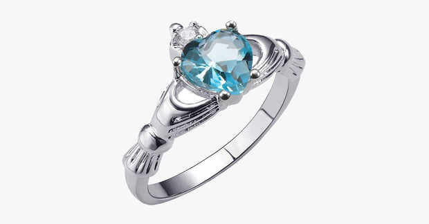 Aquamarine Heart Ring - FREE SHIP DEALS