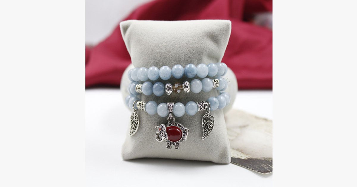 Aquamarine Multi-layer Ruby Stone Elephant Bracelet - FREE SHIP DEALS