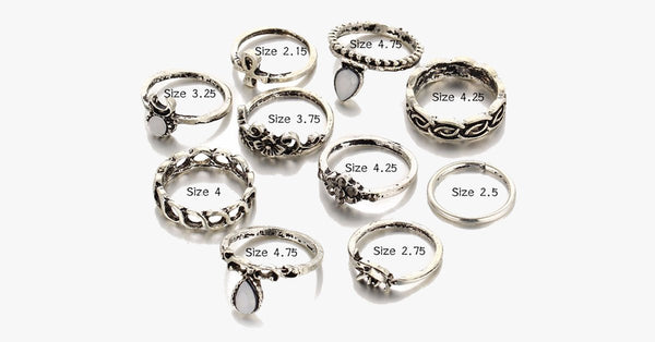 Vintage Flower Midi Rings 10pcs Set - FREE SHIP DEALS