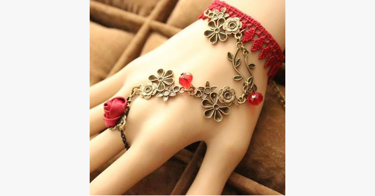 Red Vine Ring-to-Wrist Bracelet
