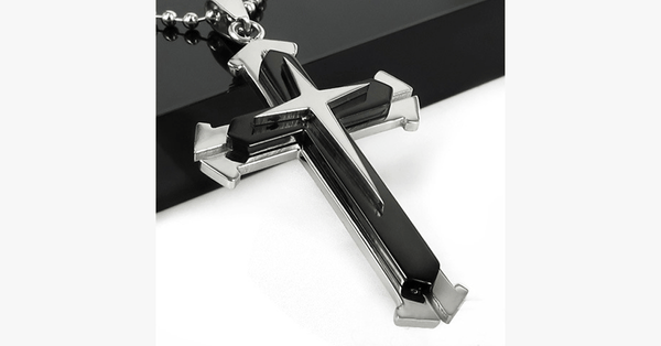 Stainless Steel Dual Tone Men's Cross Pendant