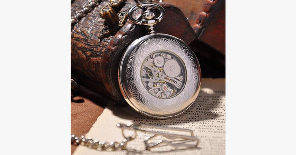 Silver Shield Full Hunter Pocket Watch - FREE SHIP DEALS