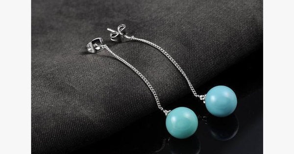 Turquoise Ball Drop Earrings - FREE SHIP DEALS