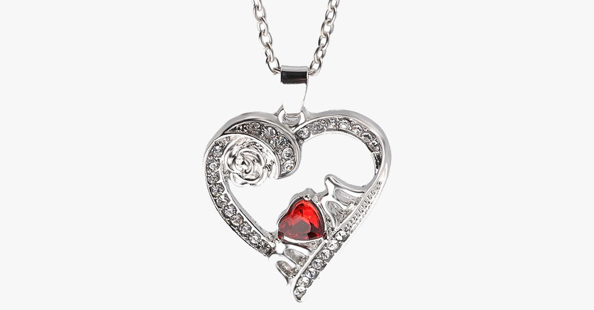 Red Heart Mom Pendant