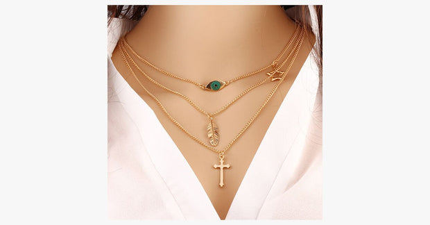 Eye Leaf Cross Necklace - FREE SHIP DEALS