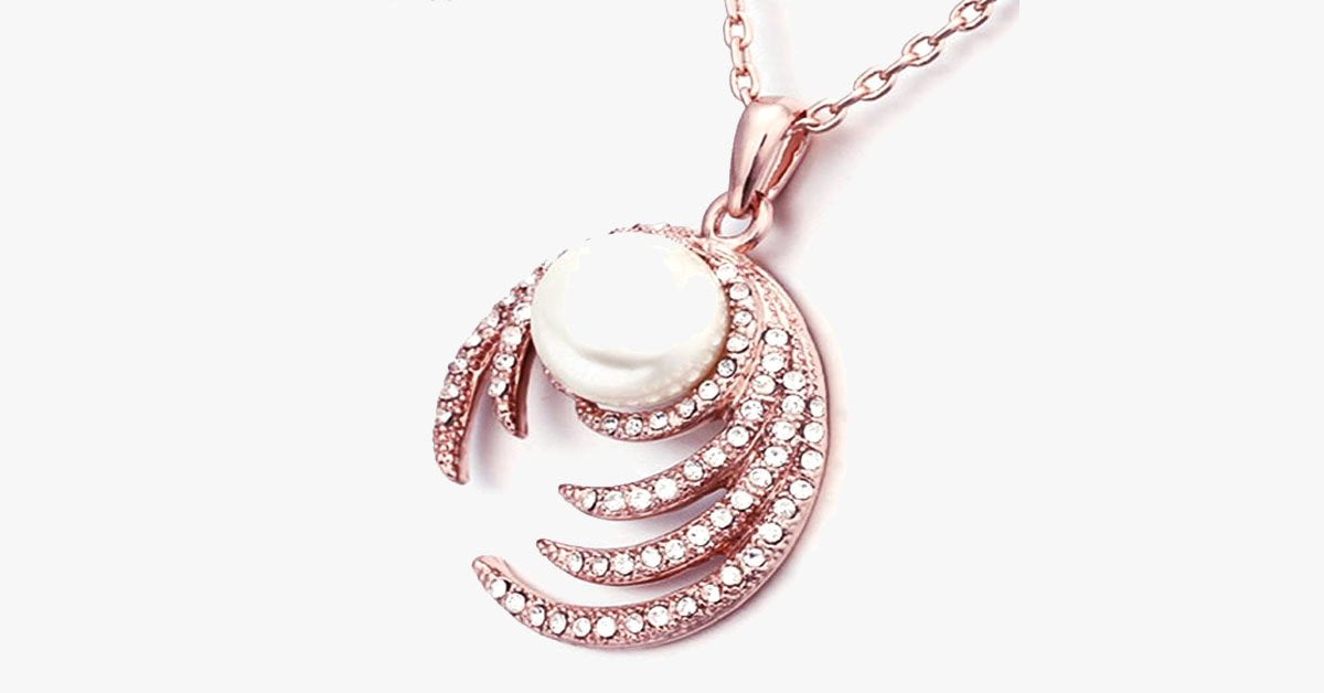 Pearl Diamond Rose Gold Necklace