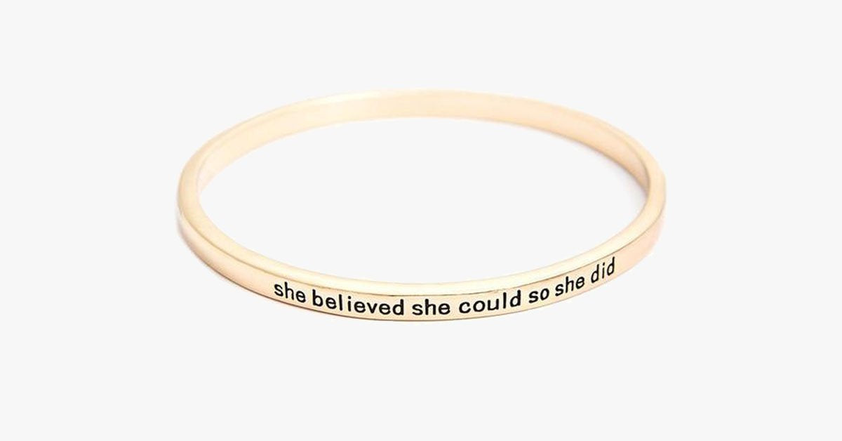She Believed She Could So She Did Simple Bangle