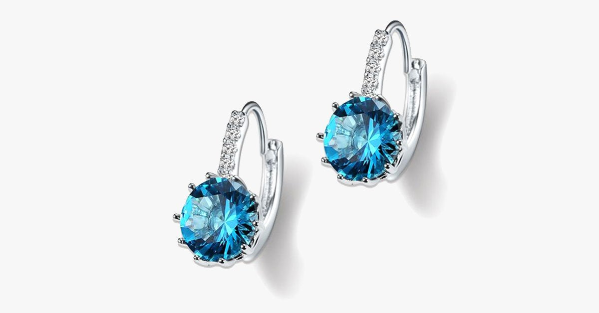 Unique Round Small Crystal Hoop Earrings - FREE SHIP DEALS