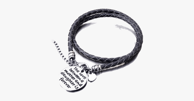 Bracelet for Mother & Daughter - Made with Vegan Leather & Zinc Alloy Charms - Engraved with Message - Adjustable & Comfortable Fit, Black
