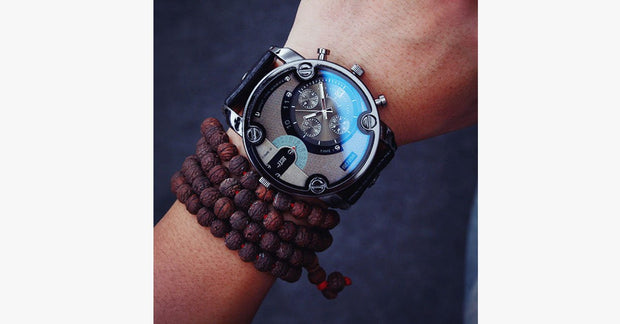 Men's Leather Band Steel Shell Watch