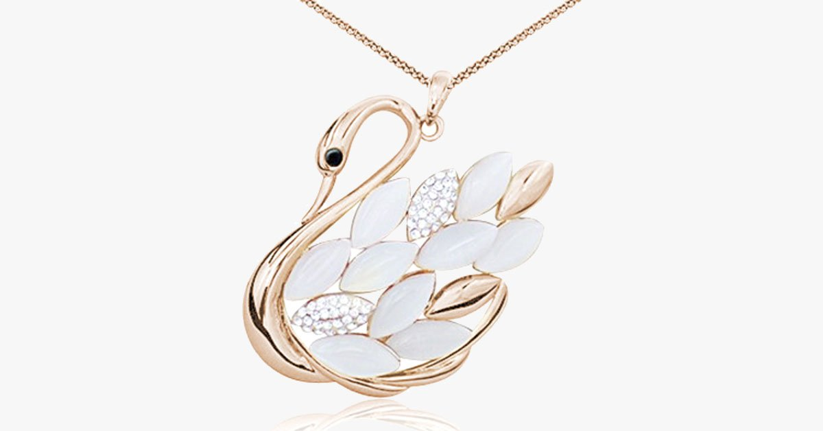 Rose Gold Overlay Crystal Beaded Swan Pendant