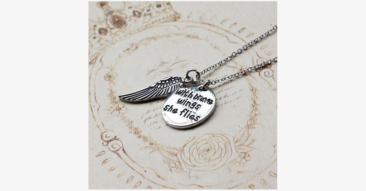 With Brave Wings She Flies Charm Pendant - FREE SHIP DEALS