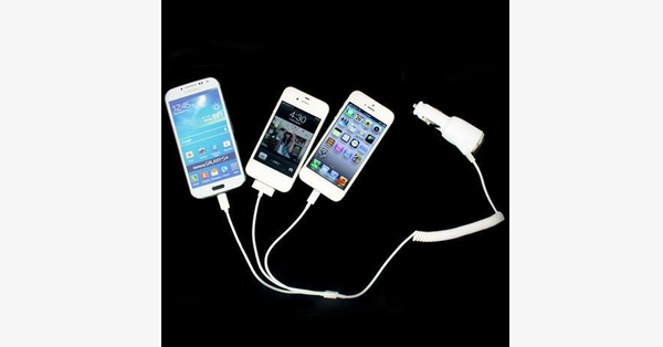3 In 1 Car Charger Coil Cable Adapter - FREE SHIP DEALS