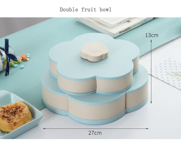 Flower Design Double-layer Rotary Storage Box