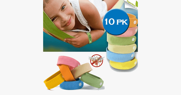 10 Pack Mosquito Bands - Assorted Colors - FREE SHIP DEALS