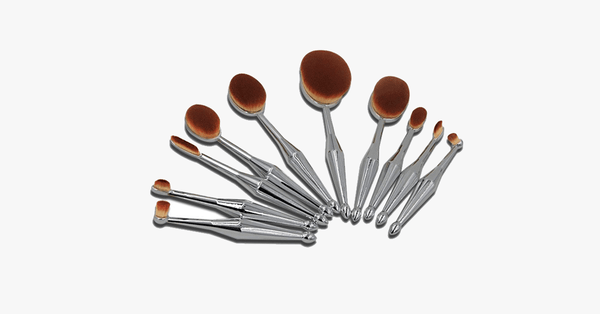 10 Piece Metallic Silver Oval Brush Set - FREE SHIP DEALS