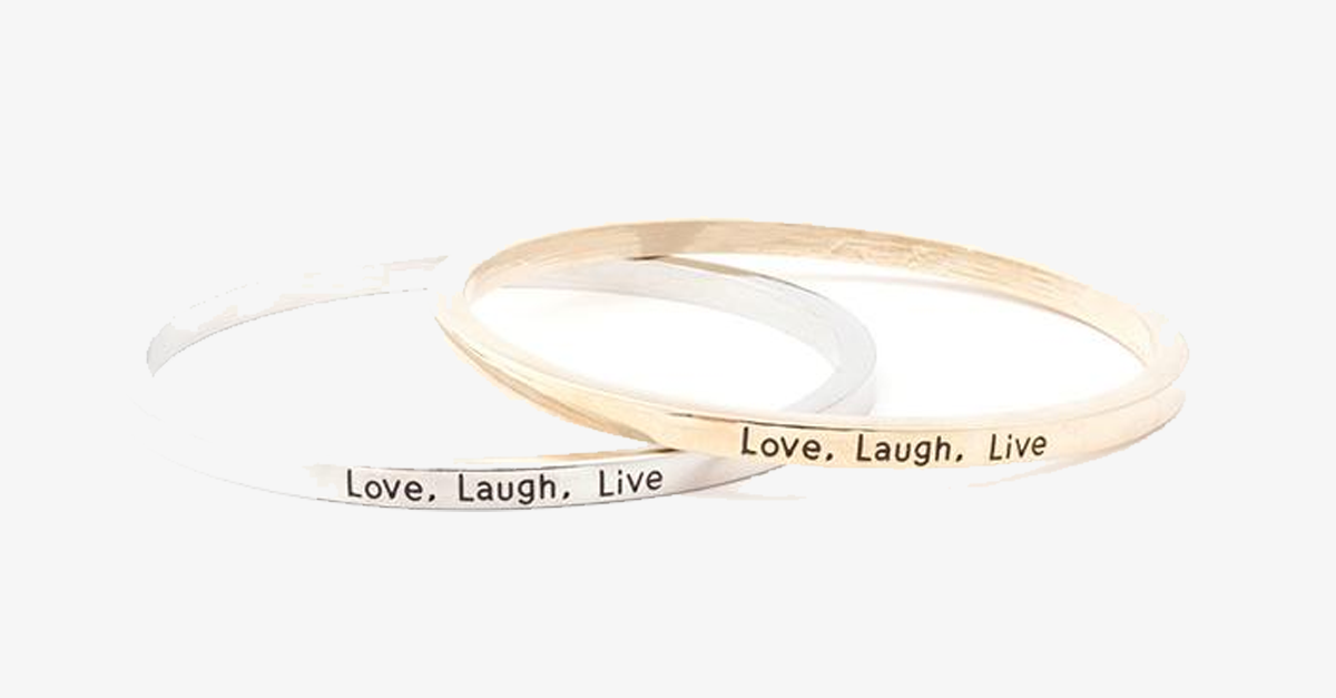 Love Laugh Live Engraved Bangle - FREE SHIP DEALS