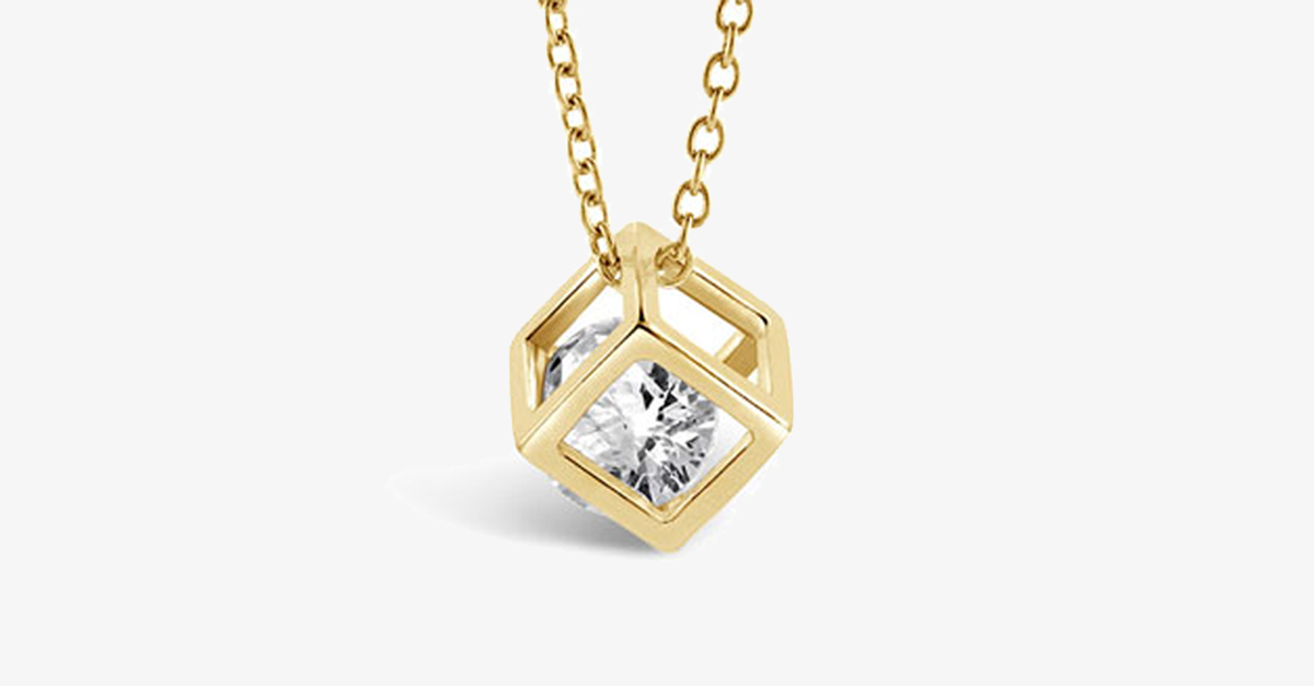 Gold Cube Necklace - FREE SHIP DEALS