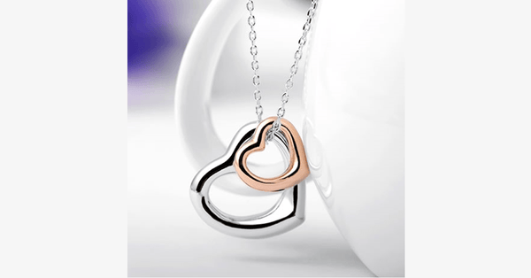 Double Heart Gold-Silver Overlay Pendant - FREE SHIP DEALS