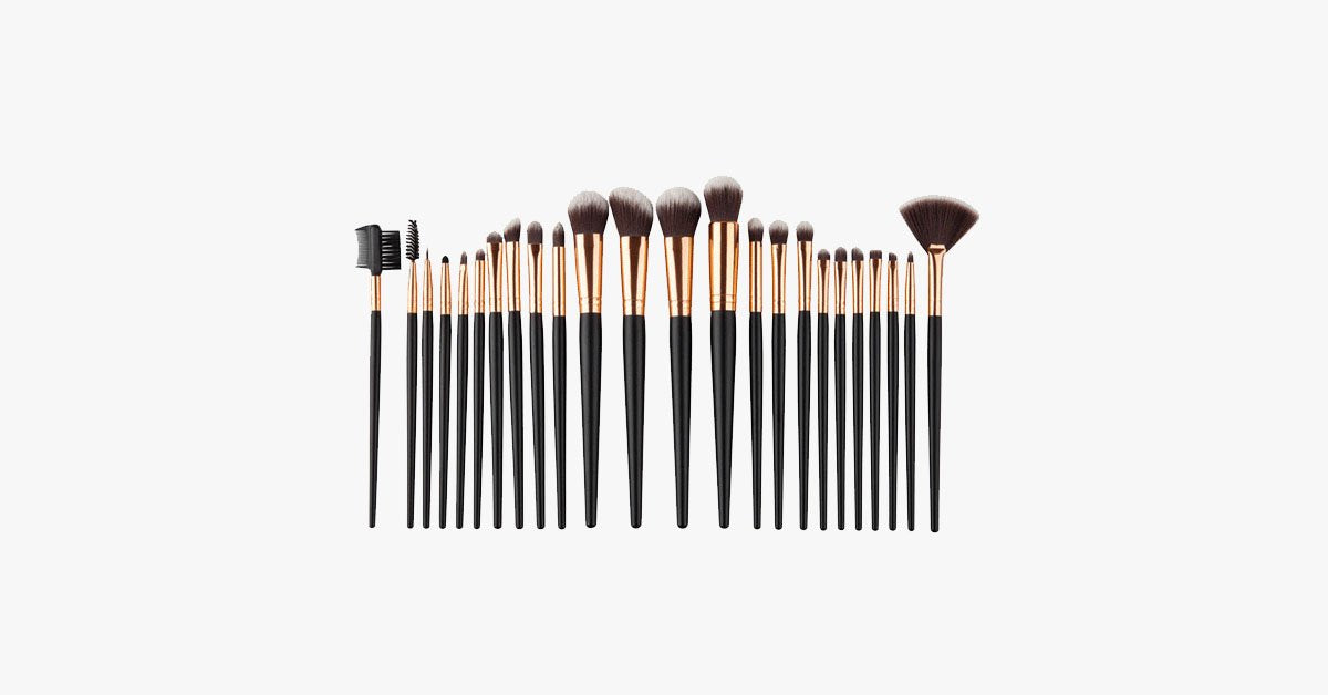 24 Piece Pro Black Brush Set - FREE SHIP DEALS