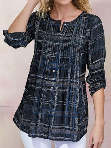Button Plaid Round Neck Long Sleeve Standard Blouse