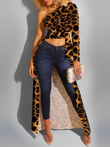 Oblique Collar Leopard Regular Long Sleeve Long Blouse