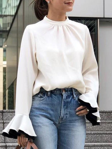 Stand Collar Standard Long Sleeve Blouse