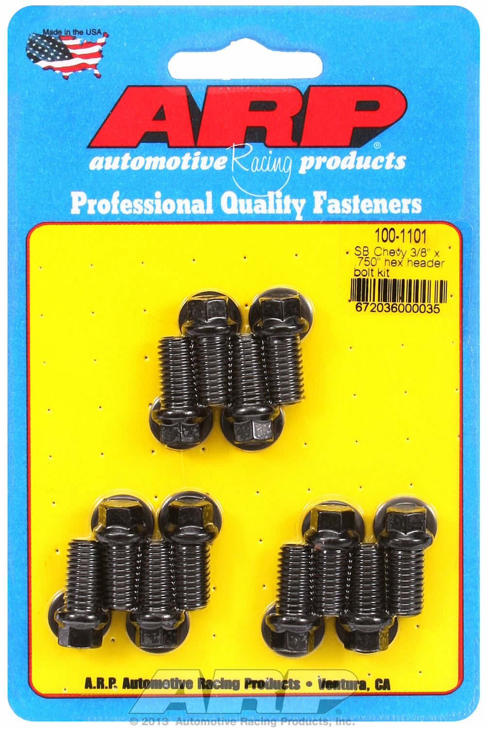 Header Bolt Kit for Chevy Small Block 3/8in x .750in Black Oxide Hex Head