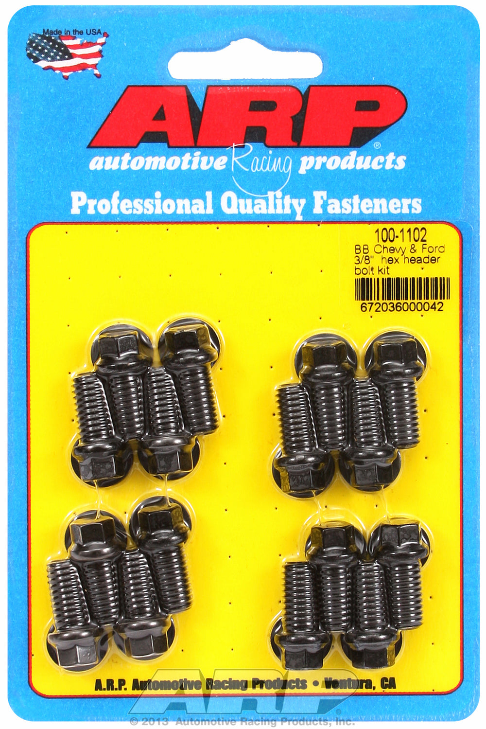Header Bolt Kit for Chevy Big Block 3/8in x .750in Black Oxide Hex Head