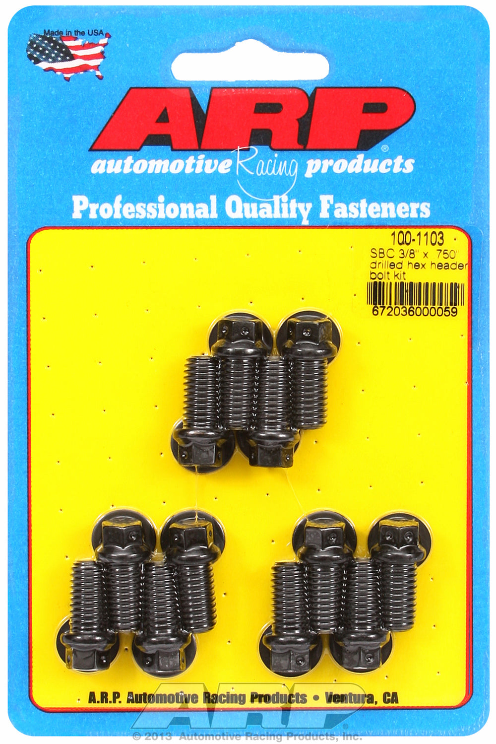 Header Bolt Kit for Chevy Small Block 3/8in x.750in Drilled Black Oxide Hex Head