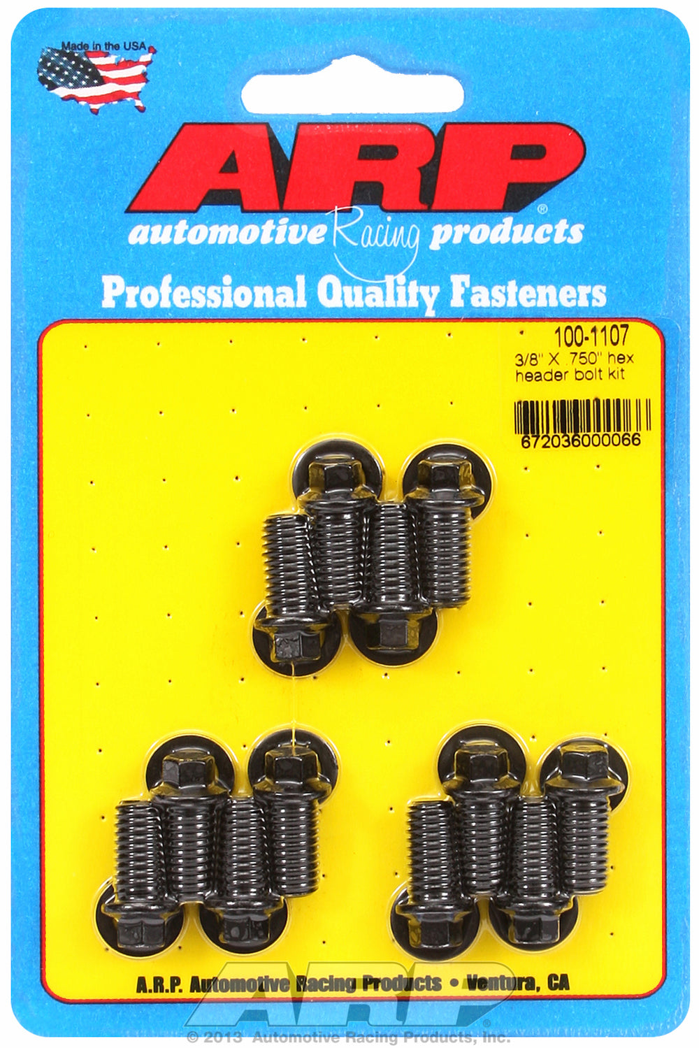 Universal Header Bolt Kit 5/16in wrench, 3/8in, .750in UHL Black Oxide Hex Head