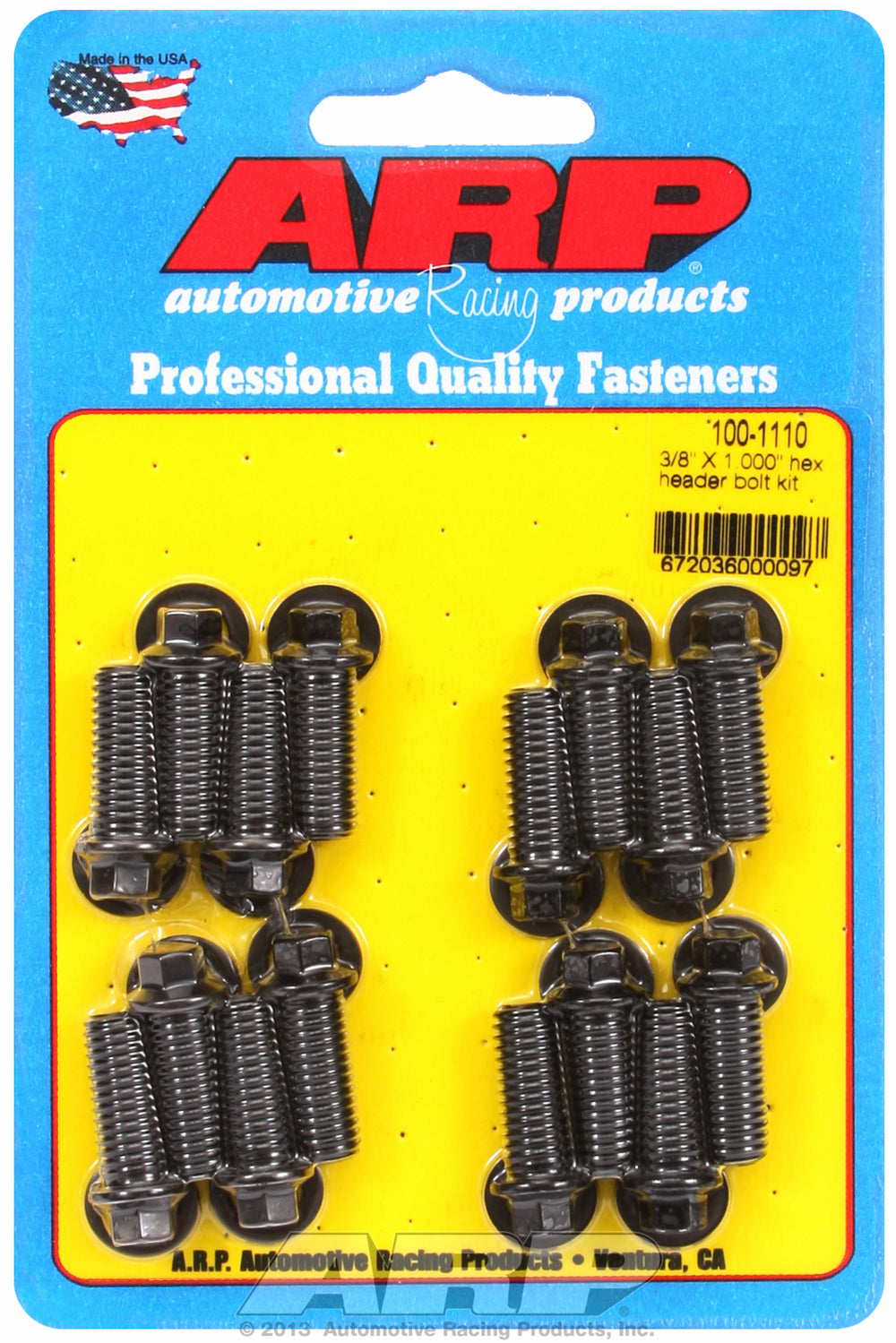 Universal Header Bolt Kit 5/16in wrench, 3/8in, 1.000in UHL Black Oxide Hex Head