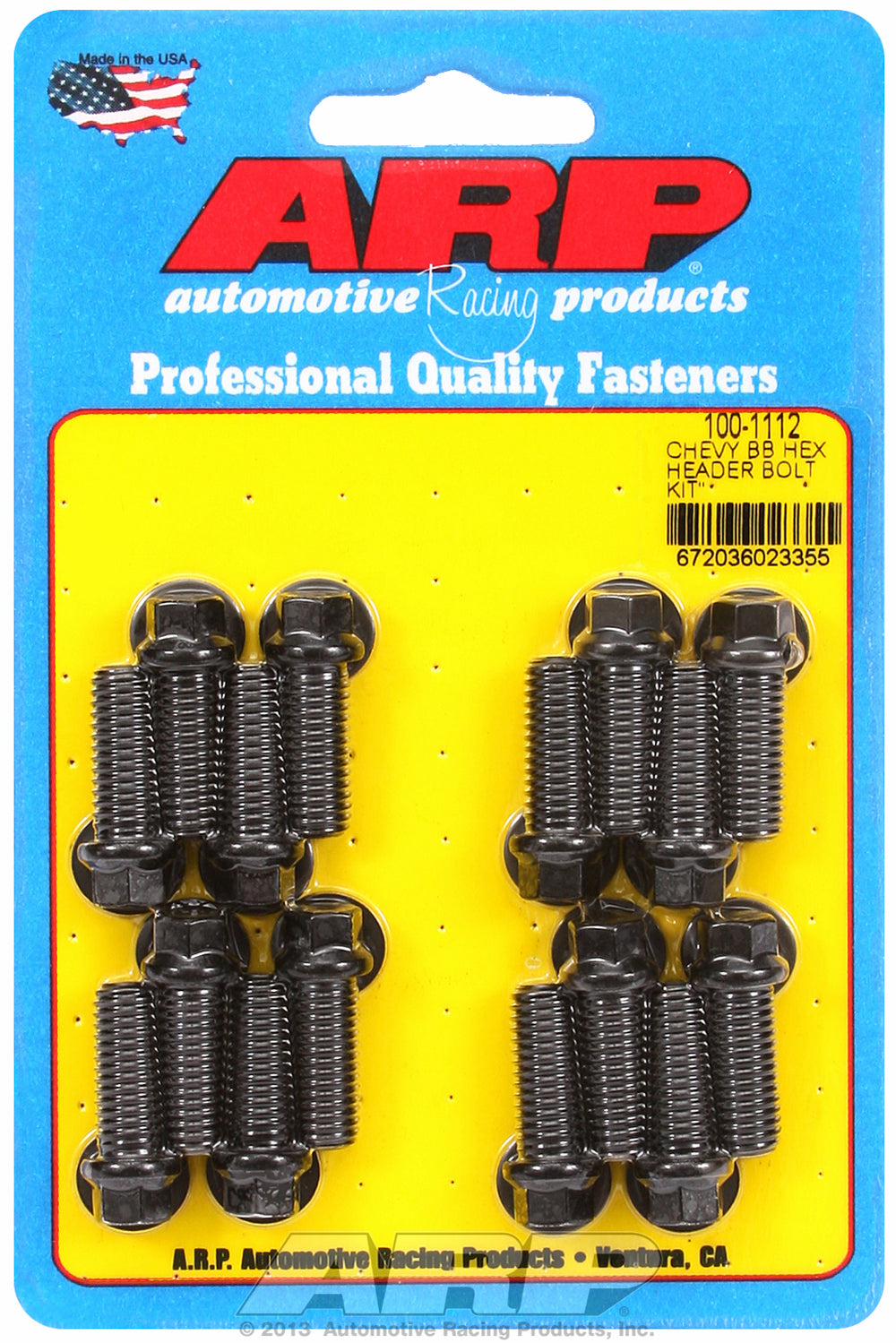 Header Bolt Kit for Chevy Big Block 3/8in Dia. 1.000in UHL Black Oxide Hex Head