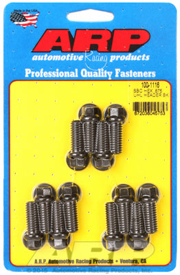 Header Bolt Kit for Chevy Small Block 3/8in Dia, 0.875in UHL Black Oxide Hex Head