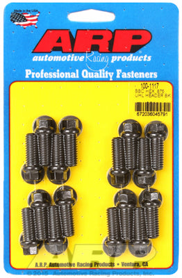 Header Bolt Kit for Chevy Big Block 3/8in Dia, 0.875in UHL, Black Oxide Hex Head