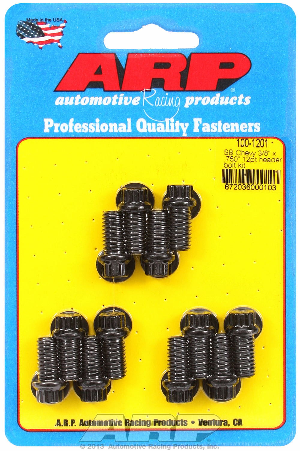 Header Bolt Kit for Chevy Small Block 3/8in x .750in Black Oxide 12-Pt Head
